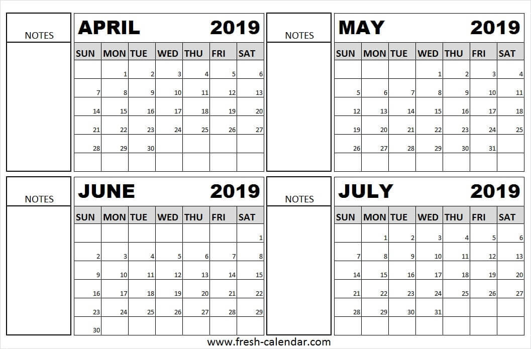 April To July 2019 Calendar Printable Free Fresh Calendar