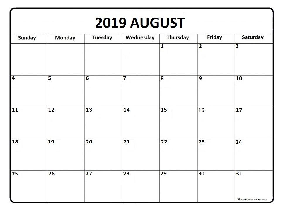 August 2019 Calendar Free Printable Monthly Calendars