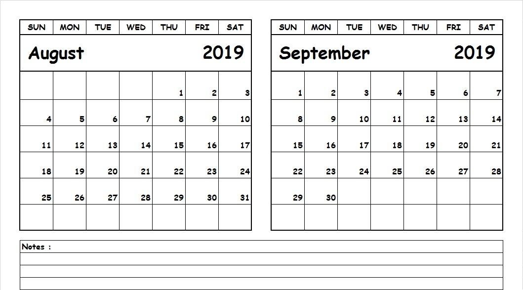 August September 2019 Calendar Printable All 12 Month Calendar