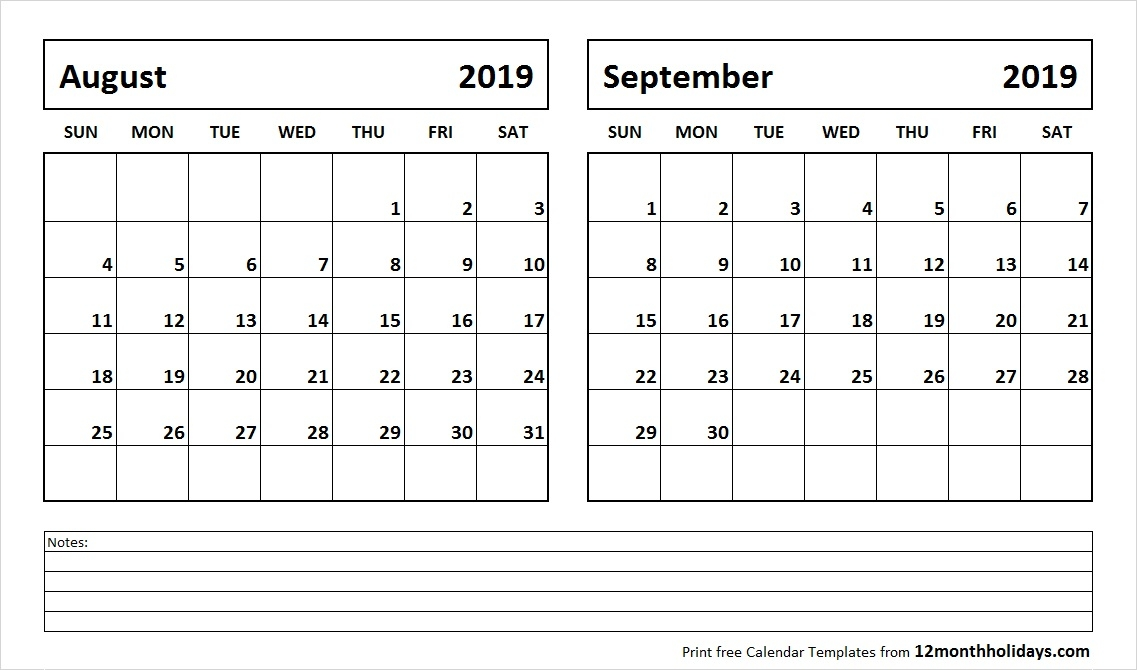 August September 2019 Printable Calendar All 12 Month Calendar