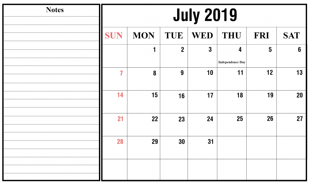 Blank July 2019 Calendar Printable In Pdf Word Excel Printable