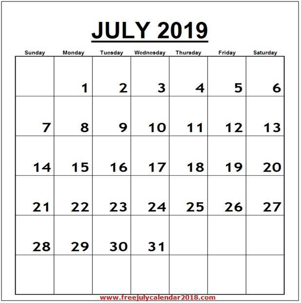 Calendar For July 2019 Word Vertical July 2019 Calendar Printable
