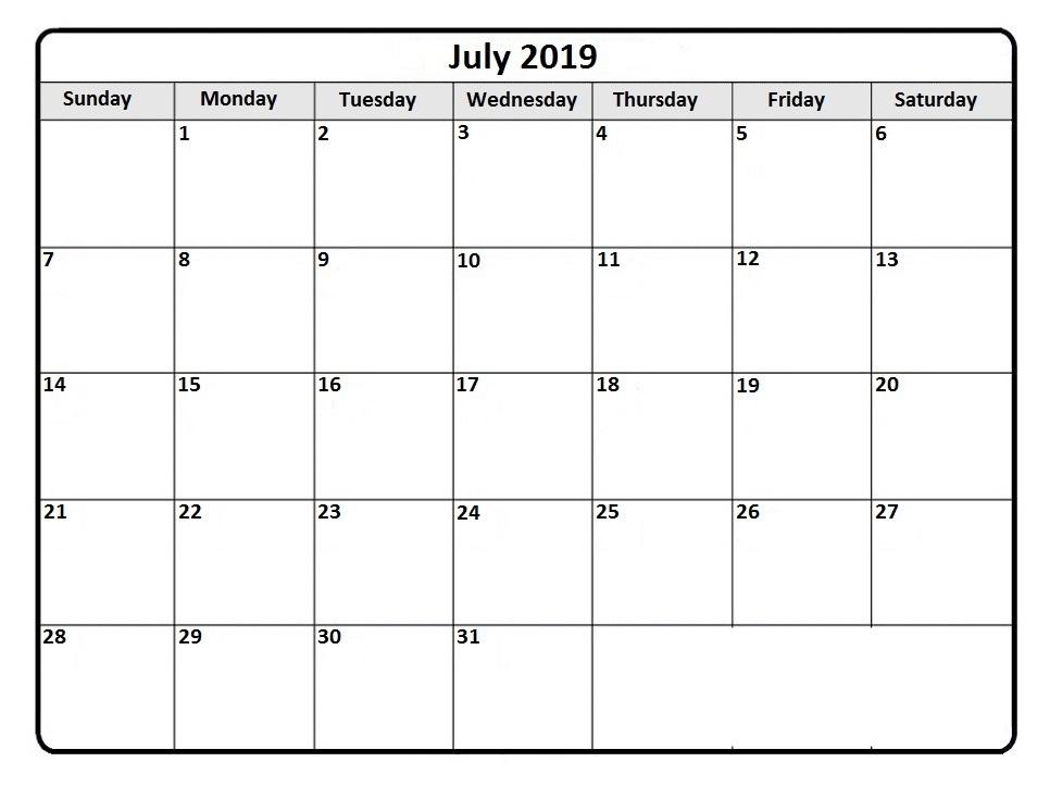 Download July 2019 Calendar Printable Blank Editable