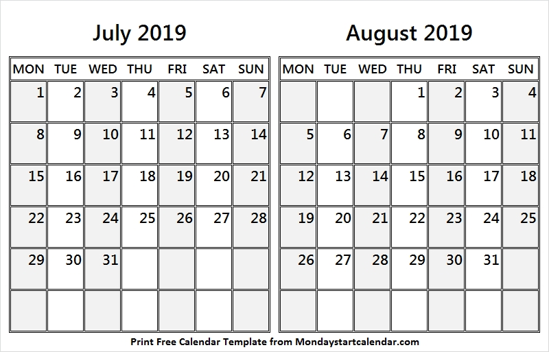 Download White Calendar 2019 July And August Printable Calendar 2019
