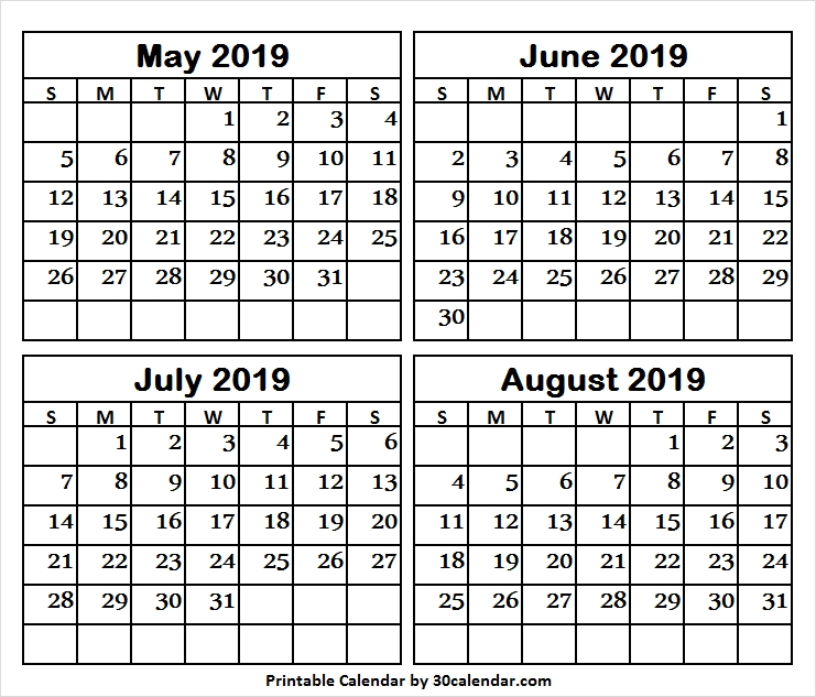 Four Month Calendar May To August 2019 Printable Template 2019 May
