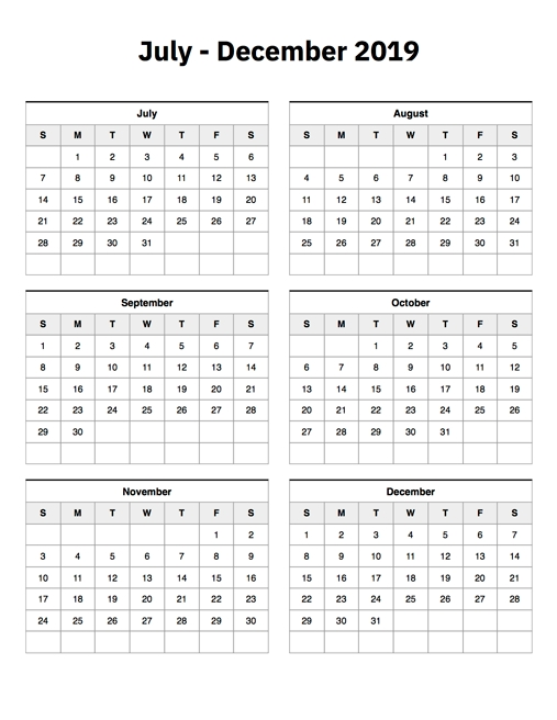 July To December 2019 Calendar Printable Calendar 2019