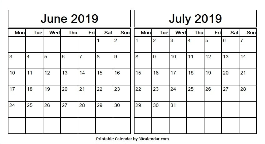 June To July 2019 Calendar Printable Template Blank Template 2019