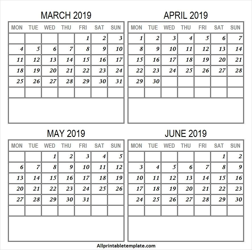 Mar Apr May Jun 2019 Calendar Archives All Printable Template