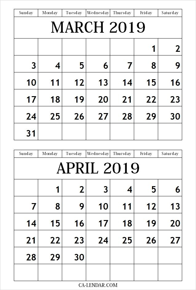 March April 2019 Calendar Free Printable Monthly Calendar Template