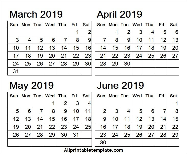 March April May June 2019 Calendar Free Template With Notes