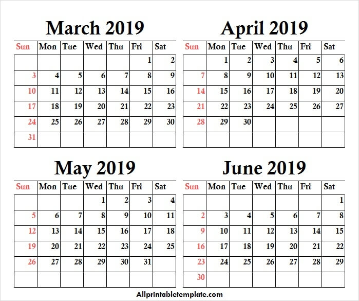 March To June 2019 Calendar Free Template With Notes