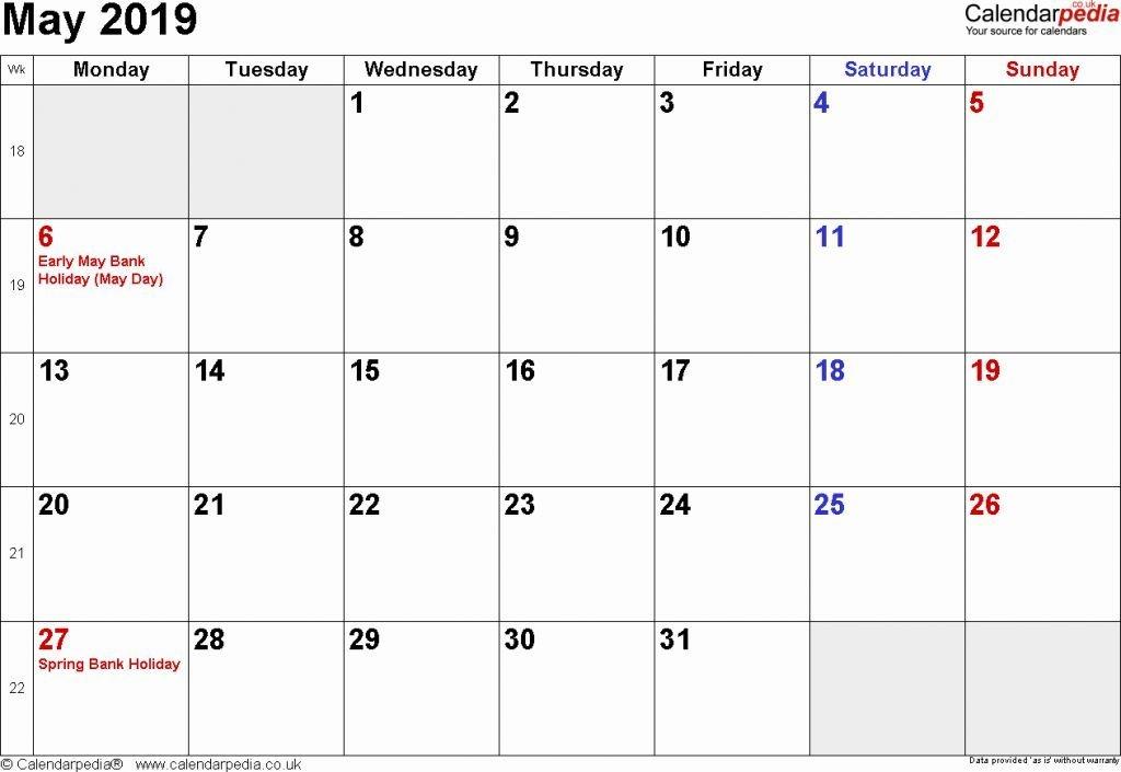 May 2019 Calendar Excel Monthly Calendar Printable Templates