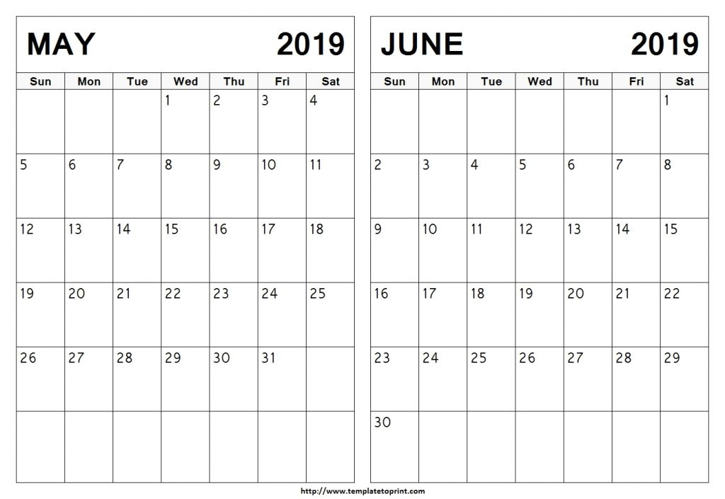May June 2019 Calendar Free Printable Calendar Blank Template