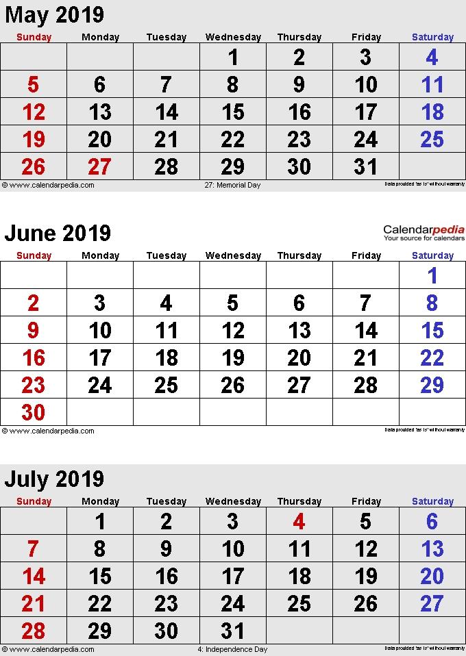 May June July Calendar 2019 Portrait 2019 Calendars October