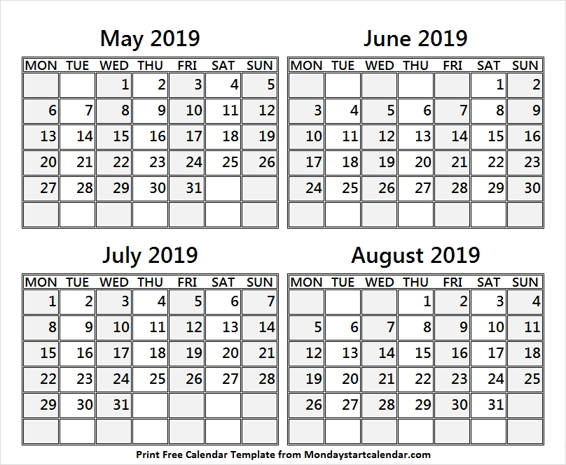 May To August 2019 Four Month Calendar Four Months Calendar