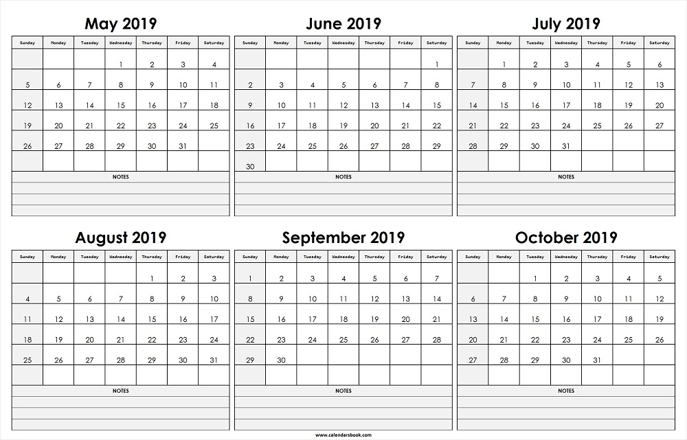 Monthly Calendar May Jun Jul Aug Sep Oct 2019 Template 6 Month