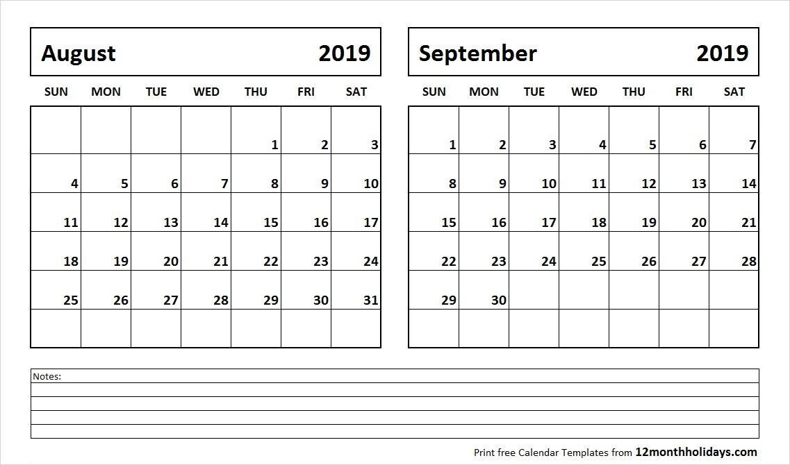 Print August September 2019 Calendar Template 2 Month Calendar