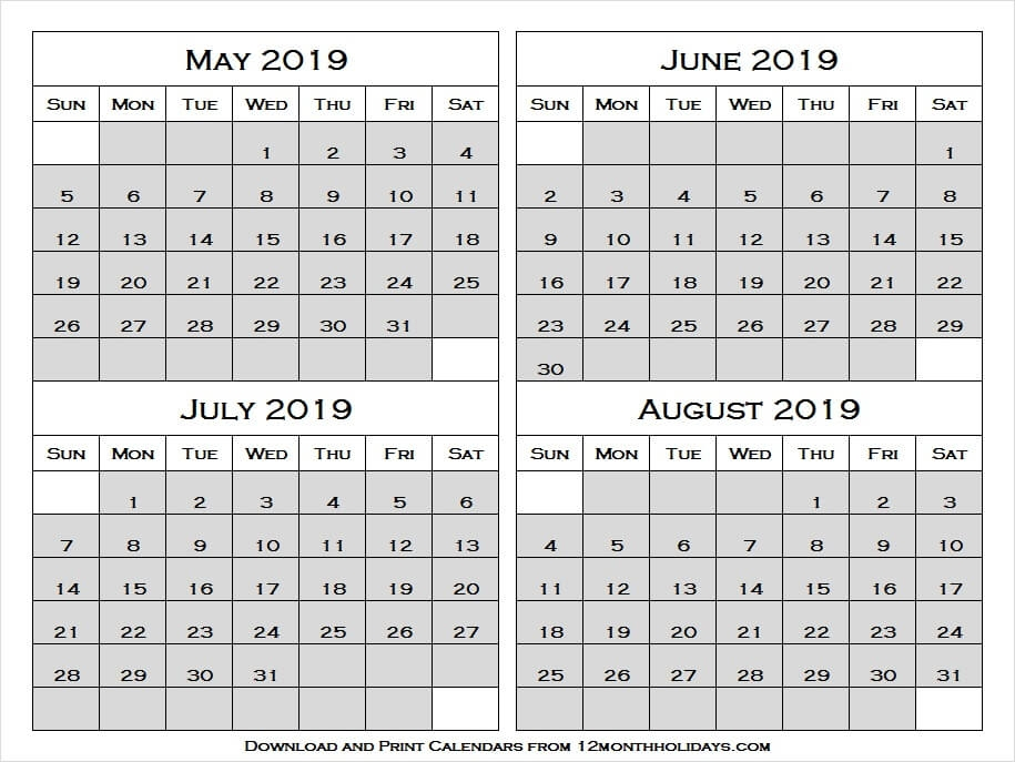 Print Free 2019 May August Printable Calendar With Notes