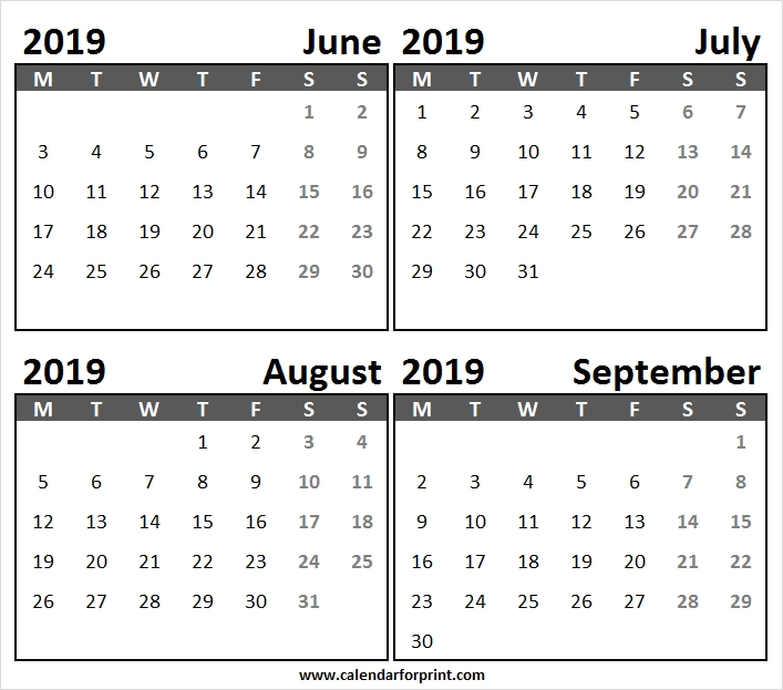 Sunday Start Calendar June September 2019 Blank Month Calendar
