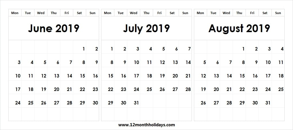 Three Month Calendar June July August 2019 Editable Template 2019