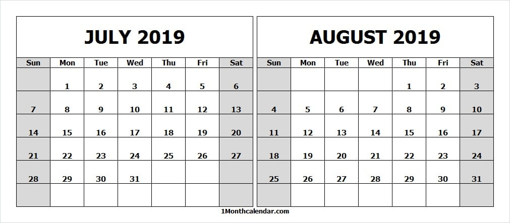 White Calendar 2019 July And August Archives Month Calendar