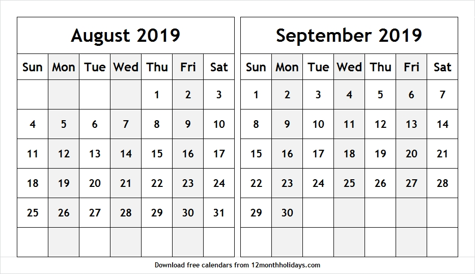 2019 Calendar August And September Fillable Download Template