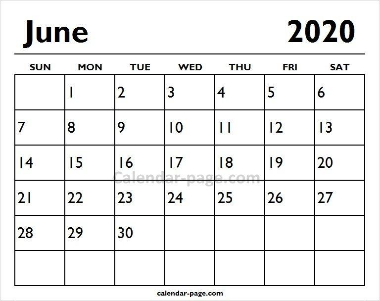 2020 June Printable Calendar Page Blank Calendar Printable