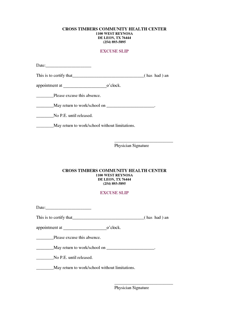 36 Free Fill In Blank Doctors Note Templates For Work School