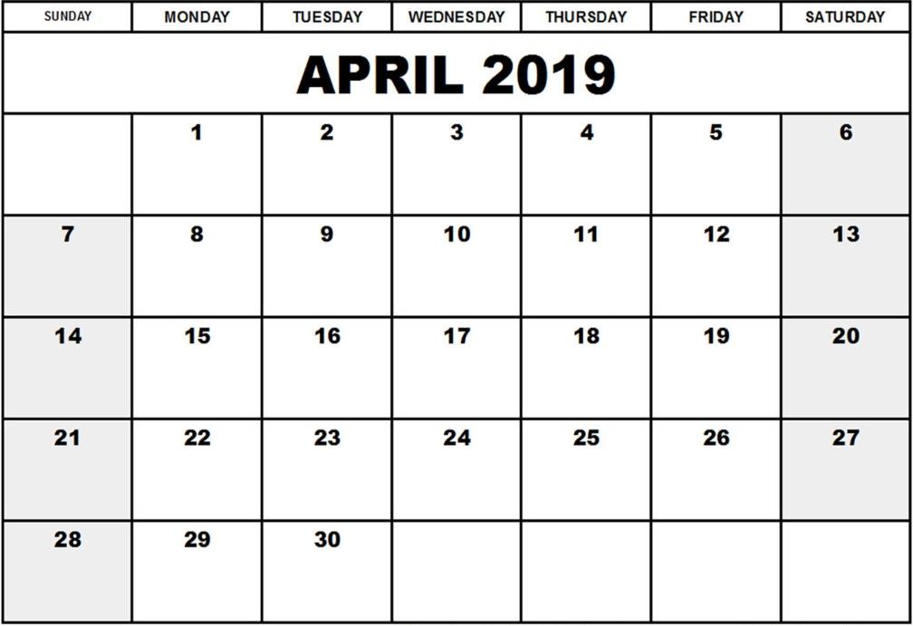 April 2019 Calendar Excel Printable Calendar Template
