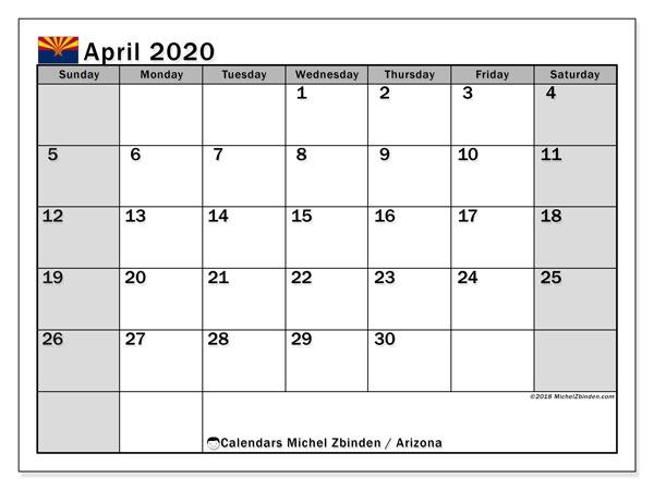 April 2020 Calendar Arizonausa Michel Zbinden En