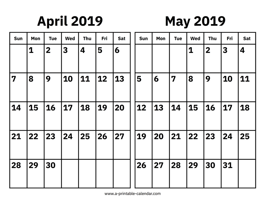 April And May 2019 Calendar Printable Calendar 2019