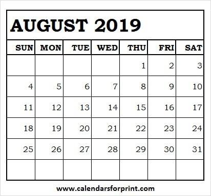 August 2019 Calendar Template Free 2019 Calendar For Print