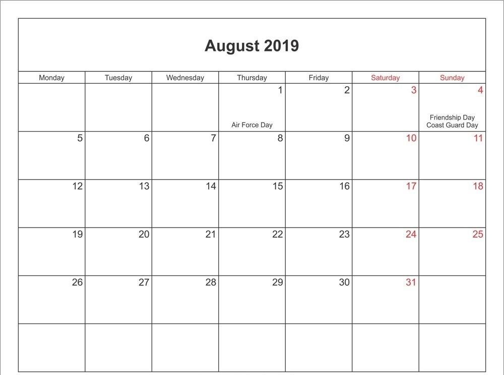 August 2019 Calendar With Holidays Us Printable Calendar 2019