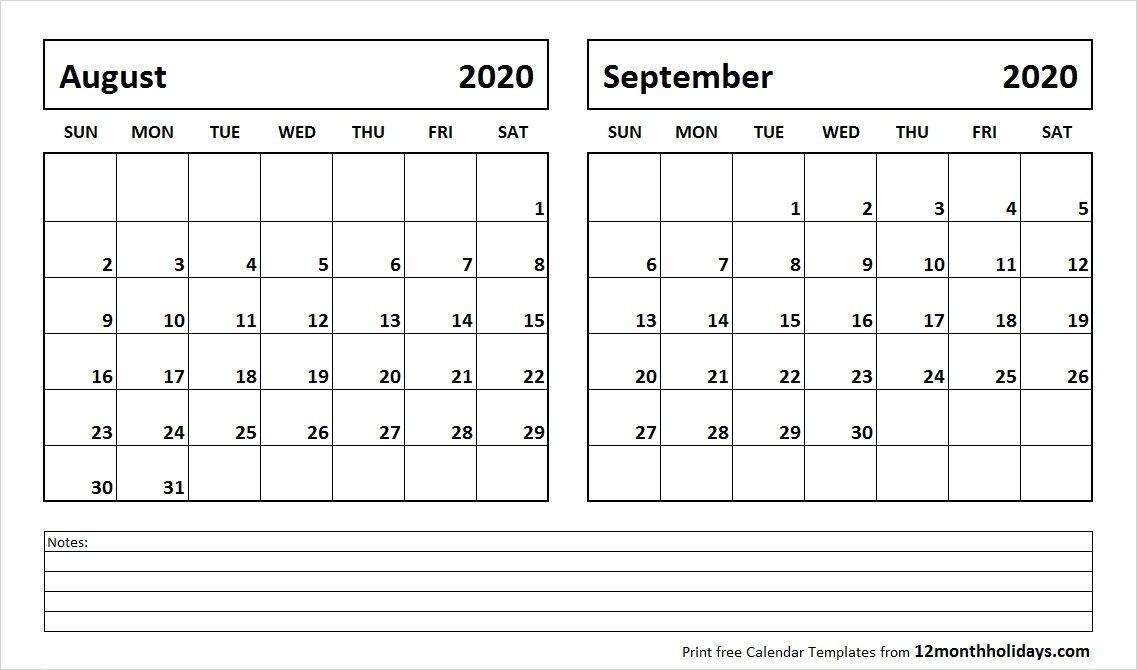 August And September 2020 Calendar 2018 Calendar 2018 Calendar