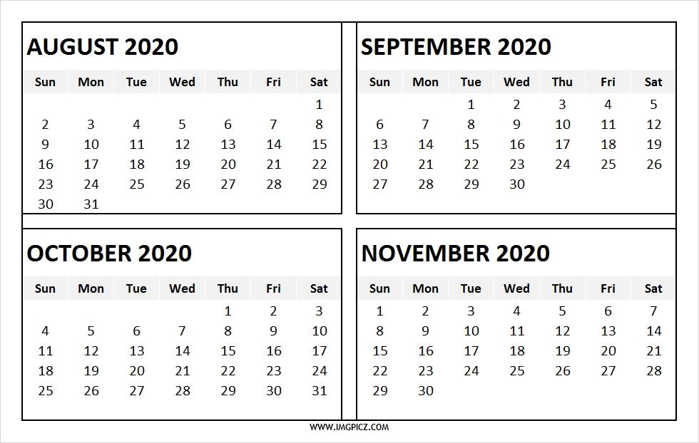 August To November 2020 Calendar Printable 4 Months 2020 Calendar