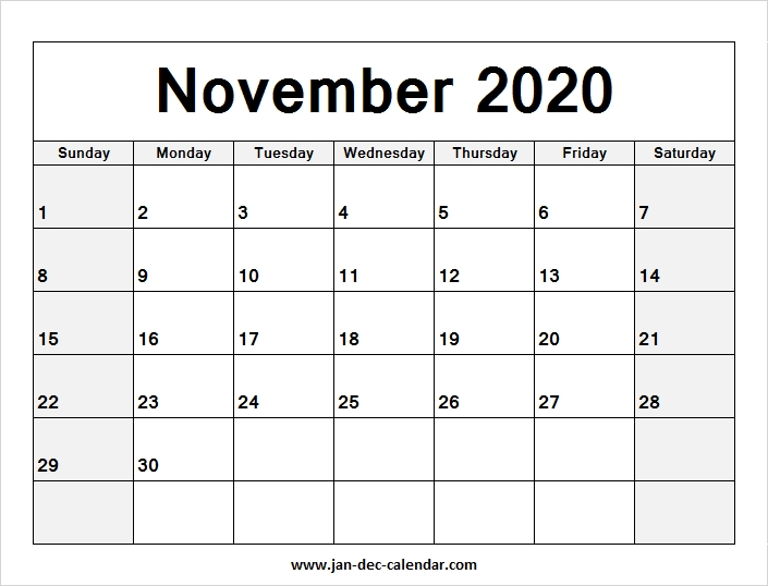 Blank Calendar November 2020 January December Calendar June 2019