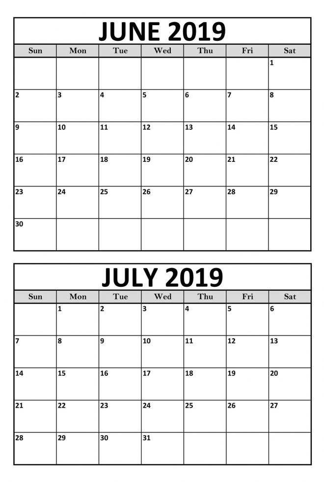 Blank June July 2019 Calendar Printable Template Magic Calendar