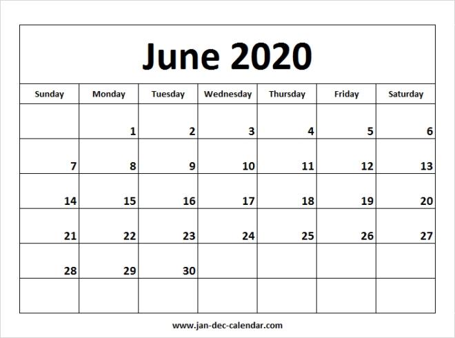 Blank Printable June Calendar 2020 Template Free