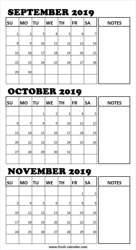 Blank September To November 2019 Calendar 2019 Editable