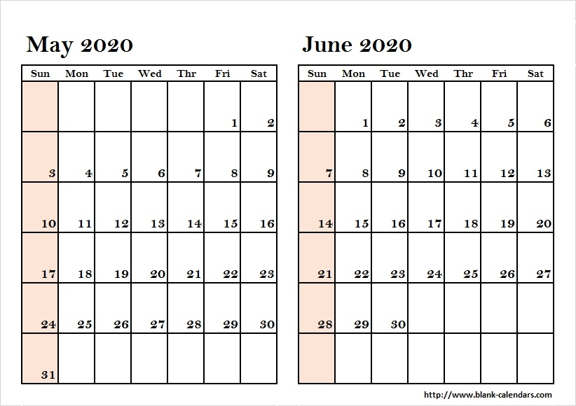 Blank Two Month May June 2020 Calendar Printable Template