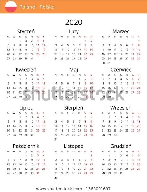 Calendar 2020 Year Poland Country Polish Stock Vector Royalty Free