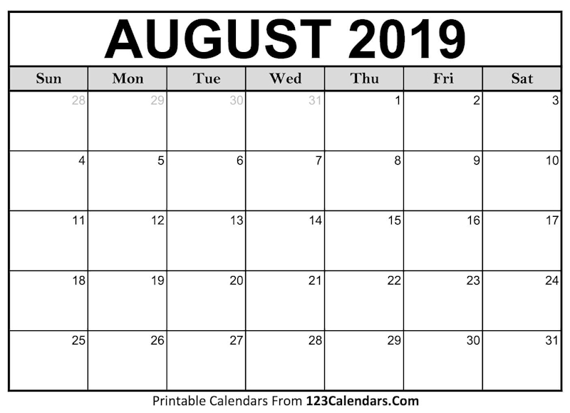 Calendar For August 2019 Free Printable Calendar Blank Template