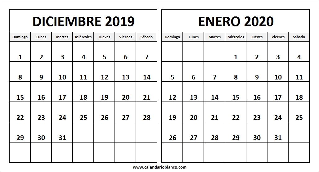 Calendario De Diciembre 2019 Y Enero De 2020 Calendario En Blanco