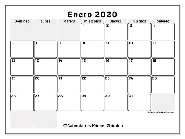 Calendario Enero 2020 44ds Michel Zbinden Es