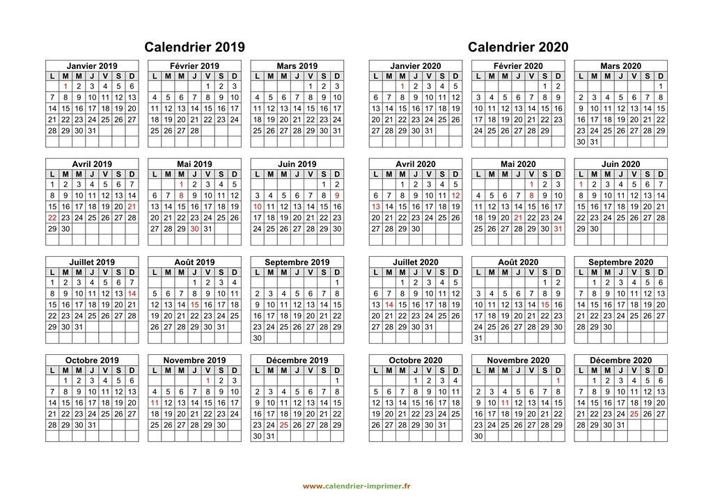 Calendrier 2019 2020 Imprimer