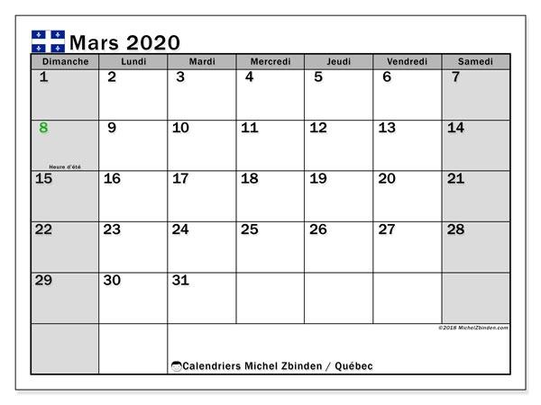 Calendrier Mars 2020 Qubec Canada Michel Zbinden Fr