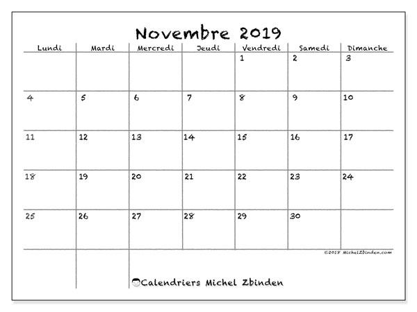Calendrier Novembre 2019 77ld Michel Zbinden Fr