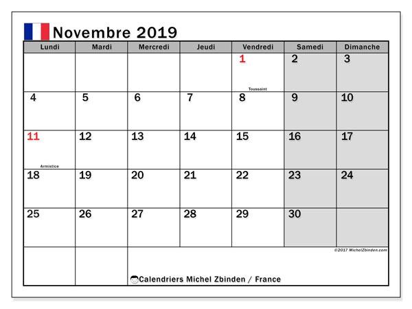 Calendrier Novembre 2019 France Michel Zbinden Fr