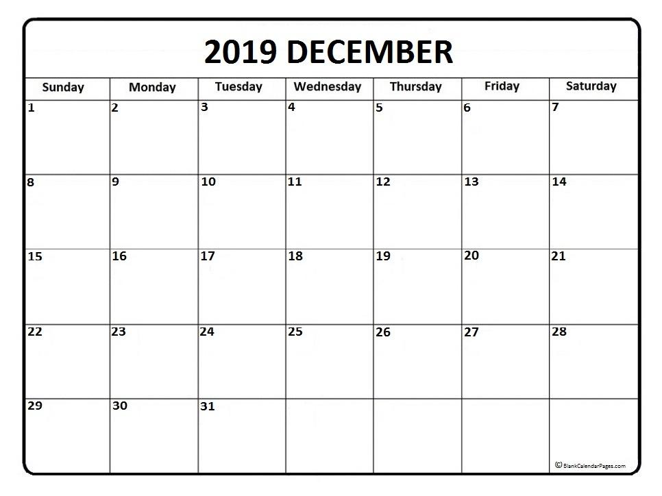 December 2019 Calendar Free Printable Monthly Calendars