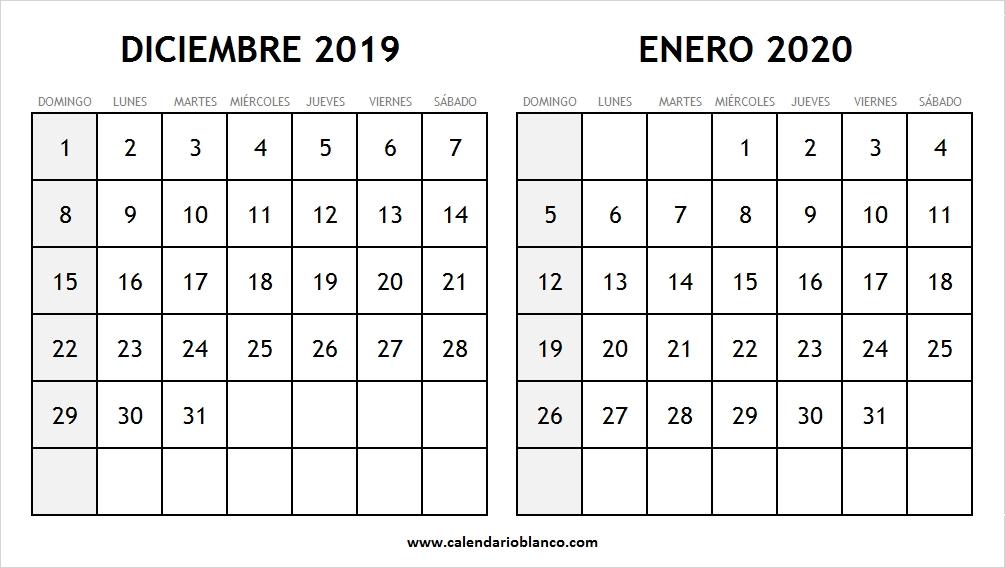 Diciembre 2019 Enero 2020 Calendario Calendario En Blanco